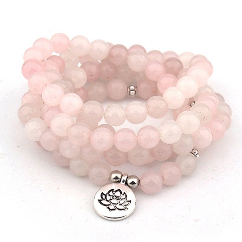 DIEZI Ethnische Mode Rosa Kristall lotus Charme Armband 108 Mala Perlen Natürliche Stein Buddha Yoga Armband Für Frauen Männer
