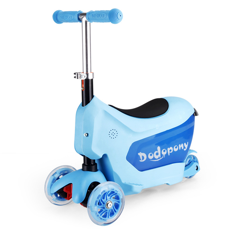 3 in 1 kid scooter tricycle multifunction with suitcase and safe handle bar blue pink toys. Black Bedroom Furniture Sets. Home Design Ideas