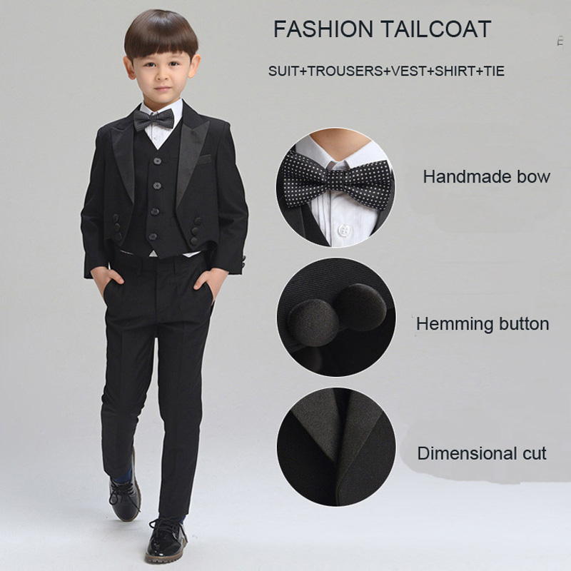 Big Boys Clothing Set Black Tailcoat Kids Prom Suits child Wedding suits for boys Formal suit for children Boys cotton suit