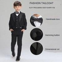Big Boys Clothing Set Black Tailcoat Kids Prom Suits child Wedding suits for boys Formal suit for children Boys cotton suit