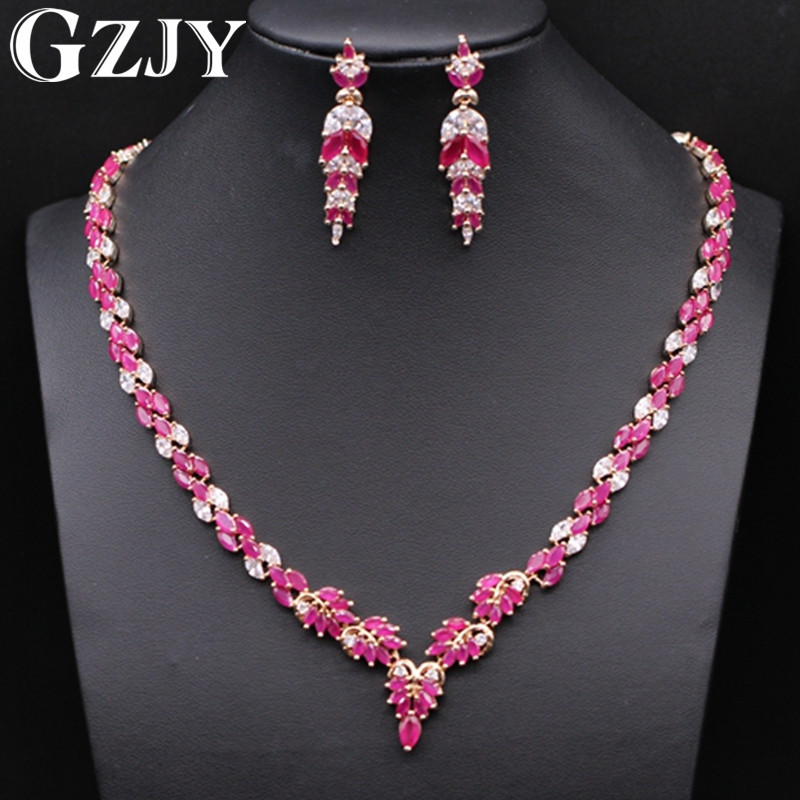 GZJY Beautiful Jewelry Gold Color Natural Red Zircon Necklace Earring Jewelry Set For Women Wedding Party JewelryGZJY Beautiful Jewelry Gold Color Natural Red Zircon Necklace Earring Jewelry Set For Women Wedding Party Jewelry