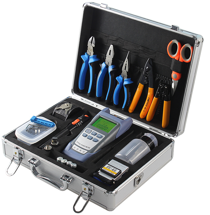Fiber Optic Tools Kit Including Optical Power Meter Fiber Cleaver Fiber Visual Fault Loctor Pliers Kevlar Cutter Cable Stripper
