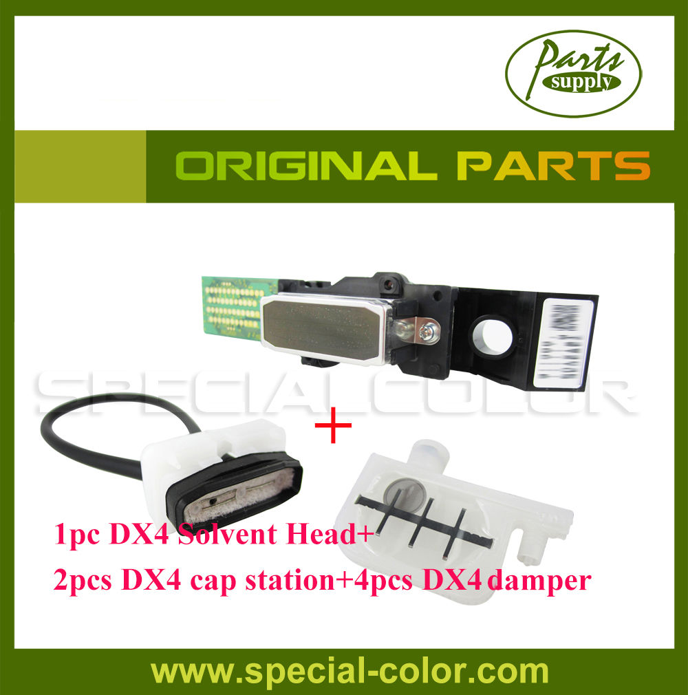 Roland RS640/XJ740/640/Mimaki JV3 Parts 1pc DX4 solvent Printhead+2pcs Mimaki JV3 Cap Station+4pcs DX4 Small damper Original for roland fj540 fj740 fj640 rs640 sj540 sj740 sj640 eco solvent printhead for dx4