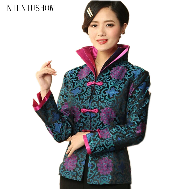 Hot Sale Blue Chinese Women's Silk Satin Jacket Long Sleeves Coat Flowers Size S M L XL XXL XXXL Free Shipping
