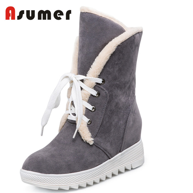 Asumer 2018 new fashion winter boots platform women boots lece round toe ankle boots high quality casual shoes big size 34-43 big size 34 42 high quality genuine leather leisure low heels ankle boots fashion cowhide round toe platform women boots