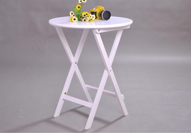Dobrável de madeira Mesa Redonda 70 cm 3 Cores Branco/Natural/Café Sala de estar Móveis de Madeira Dobrável Mesa de Jantar Computador portátil