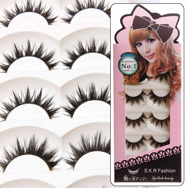 Shellhard 5 Pairs Handmade False Eyelashes Natural Makeup Thick Long Fake Eye Lashes Extension Suitable For Makeup