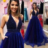 2018 Лидер продаж Блестящие платье для выпускного вечера Линия Тюль Синий Сексуальная V шеи Пром платье длиной до пола Длинные Vestidos de fiesta Вече