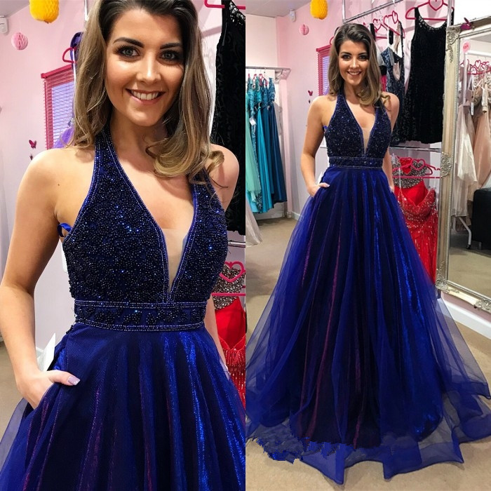 2018 Hot Sale Sparkly   Prom     Dress   A line Tulle Blue Sexy V Neck   Prom   Gown Floor length Long Vestidos de fiesta Party Dres