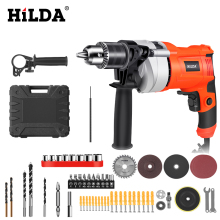 HILDA Impact electric drill Electric Rotary Hammer with BMC and 5pcs Accessories Impact Drill Power Drill Electric Drill bort electric drill rotary hammer drill impact drill multi function adjustable speed woodworking power tool with bmc accessories bhd 900