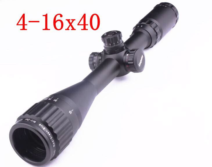 4-16X40 Tactical Gun Optical Sight Full Size AO Mil-dot RGB Zero Locking Resetting Rifle Scope Hunting Scope+25.4mm Ring Mount
