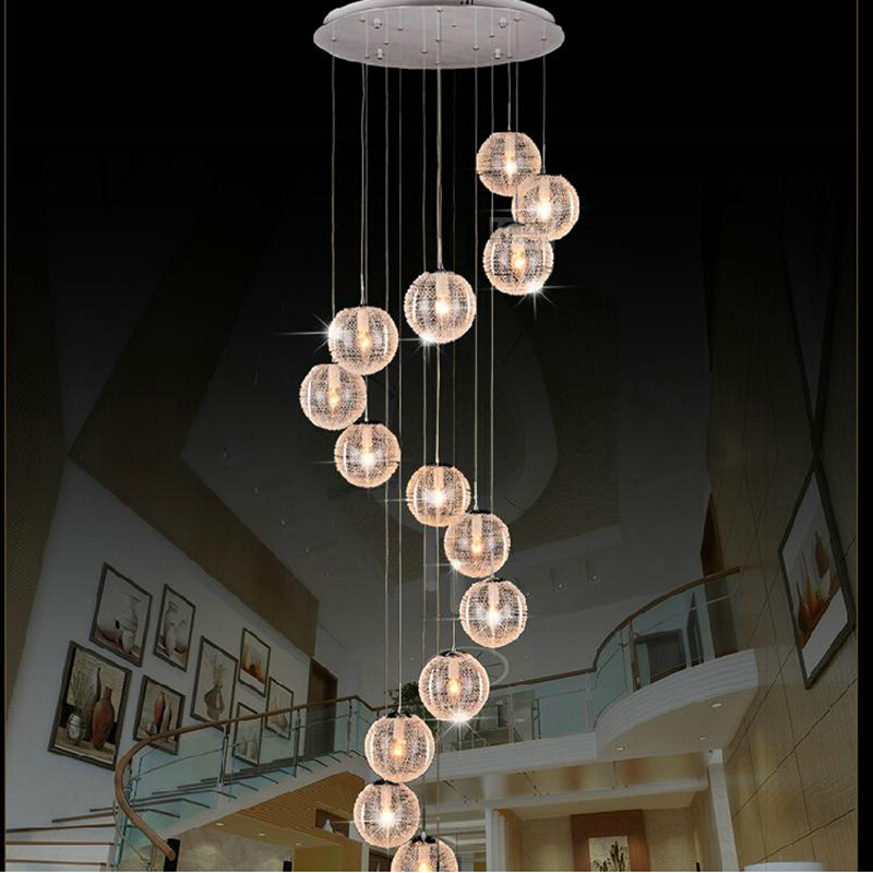 Modern Chandeliers Led Round Glass Globle Ceiling Hanglamps Long Stair Ball Lighting E27 10 Lights For Living Room Fixtures In From
