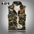 2016 Summer Korean Fashion Camo Denim Vest Slim Fit Camouflage Military Style Casual Jeans Vest For Men
