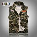 2016 Summer Korean Fashion Camo Denim Vest Slim Fit Camouflage Military Style Casual Jeans Vest For Men