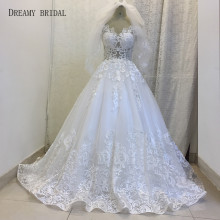 Dreamy Bridal  Wedding Dresses Ball Gown Lace Off the Shoulder Court Train Rode De Mariage For Arabic Fashion Bridal Wear