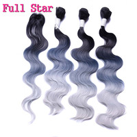 Full Star Black Grey Body Wave Hair Weft 280g 18 20 22 With 18 Closure Synthetic