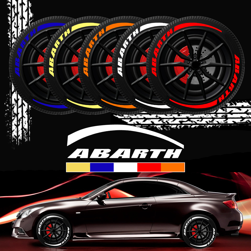 Car Wheel Stickers Tire Abarth Logo 3D Sticker Letter Custom Emblems For Fiat Punto 500 Stilo For Abarth Ducato Palio Bravo Etc.