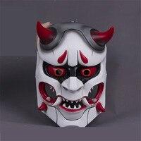 Takerlama Game OW Genji Skin Oni Mask Cosplay Mask Resin Hero Mask Prop for Halloween Party Use Gift