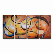 Modern hand painted oil painting on canvas abstract landscape Cheerful Melodies 4 Pieces wall art for living room