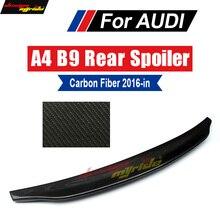 цена на A4 B9 wing Rear Spoiler True Carbon fiber Caractere style Fits For Audi A4 A4Q Rear Trunk Lip Spoiler Duckbill wing 2016-2018