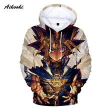 Aikooki Yu Gi Oh 3D Hoodies Men/Women Sweatshirts Hoody 3D Print Cartoon Yu Gi Oh Hooded Boys/Girls Cotton Polluvers Thin Tops(China)
