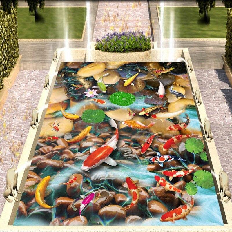 ФОТО Free Shipping 3D pebble lotus carp floor painting thickened waterproof Bathroom bedroom living room flooring mural
