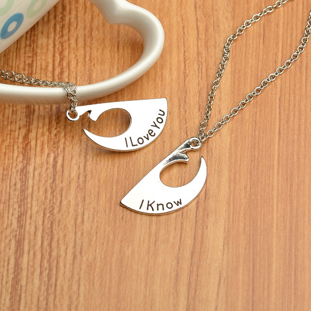 Star Wars Rebel Badge I love you I know Couple Necklace
