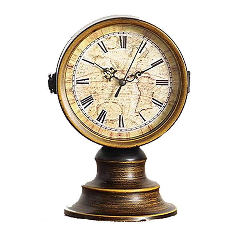 Mode créative Vintage fer Double face bureau horloge ornements métal artisanat rétro Europe horloge maison salon décoration cadeaux