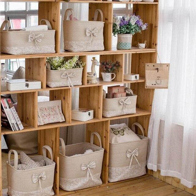 7PCS/SET Zakka Storage Bins Bags Basket Linen Fabric Bow And Lace Laundry  Basket Home