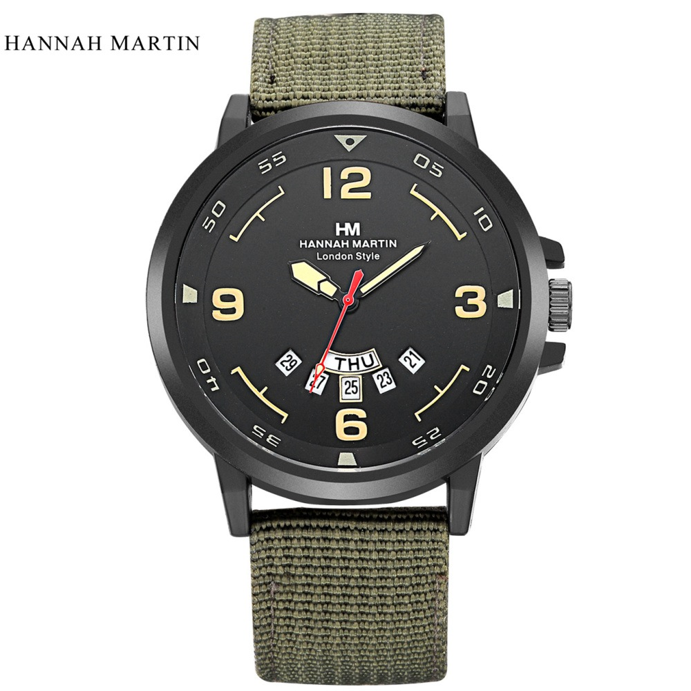 Hannah Martin Watch Men Watch Fashion Nylon Strap Sport Watches Auto Date Waterproof Military Watches Men Clock bayan kol saati