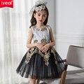 2017 Nueva Marca Negro y Oro Princesa Vestidos de Niña Bordado Formal Party Girl Princesa de Navidad Ropa de Los Cabritos
