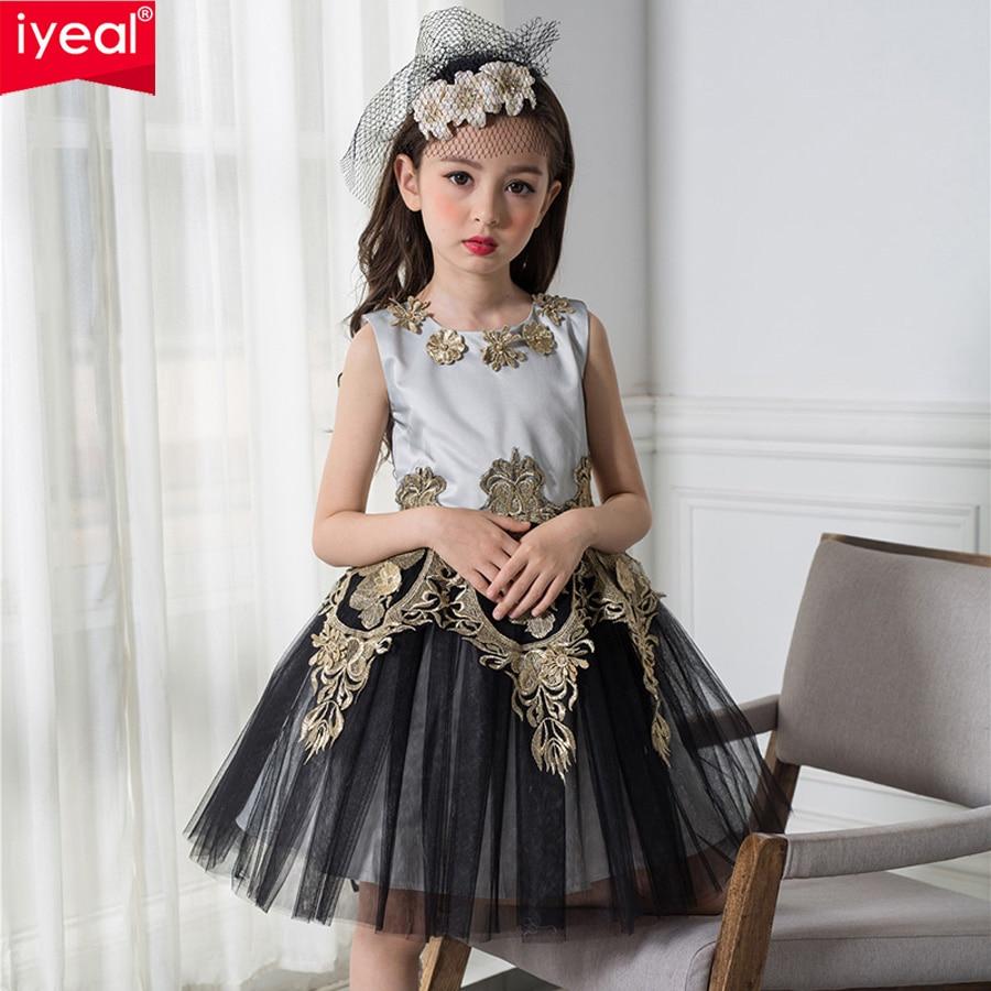 Black Girl Clothing: IYEAL 2017 Black And Gold Princess Vintage Girl Dresses