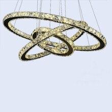 Blanco Candelabros 2015 Anillo LED K9 Crystal Lustre Inicio Decorativa Llight Lámpara Moderna Lámpara de Araña Colgante de Techo de Diseño Creativo