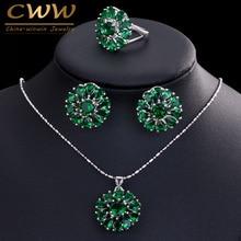 Classc Creado Verde Esmeralda Topaz Cristalino de La Flor Colgante de Collar Y Aretes Para Las Mujeres Joyería De Moda Cosutme T269