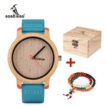 BOBO BIRD relojes de bambú para hombre y mujer, relojes de pulsera de cuarzo de lujo con correas de cuero en caja de regalos de madera