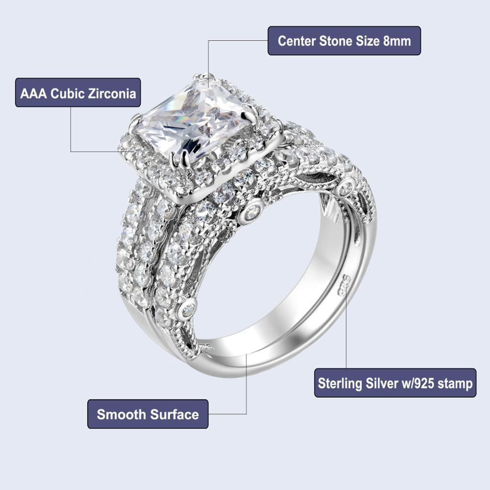 Classic 2.8 Ct Princess Cut AAA CZ 925 Sterling Silver 2 Pcs Wedding Ring Set