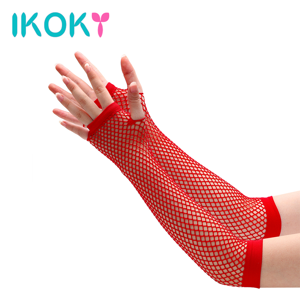 IKOKY 1 Pair Sexy Gloves Sex Toys For Women SM Bondage Adult Games Long-sleeve Faux Leather Handcuffs Erotic Toys Sex Products