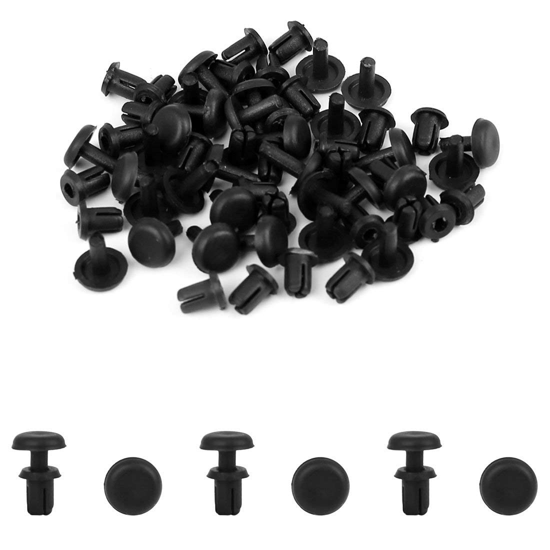 Image 2 - uxcell 30Pcs 4mm Black Plastic Rivets Push Type Panel Retainer Fastener Clip for Car-in Auto Fastener & Clip from Automobiles & Motorcycles