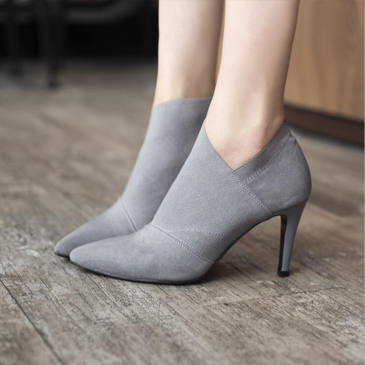 Women Shoes Slip-On Retro High Heel Ankle Boot Elegant Cusp England Casual Short Boots Female Pointed Toe Stiletto Shoes 1818