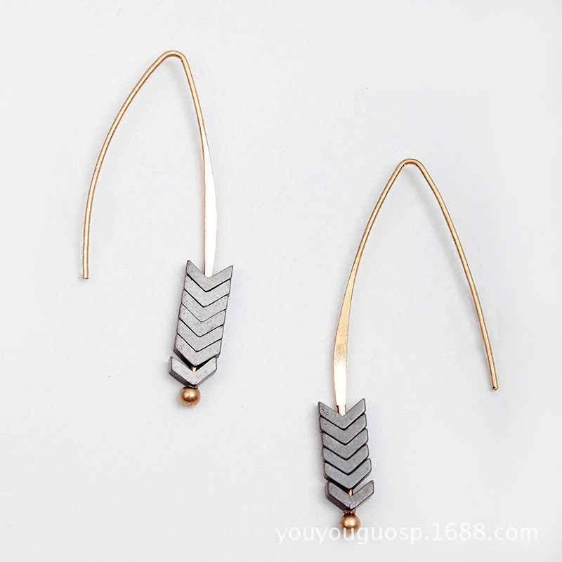 Hot Sale Natural Stone Simple Geometric Earing Fashion Jewelry Earring for Women