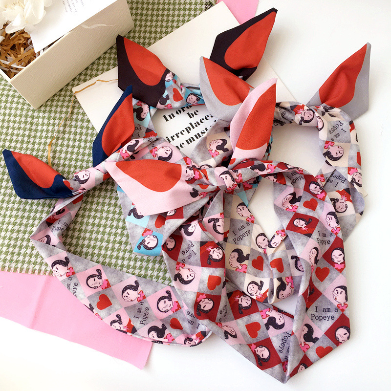 Korea Colorful Cloth Rabbit Ears braid Wide side hairbands Headbands For Girls Sweet Heart Hair Bows Hair Accessories -4