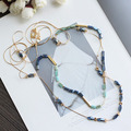 Blue Crystals Beads Long Chain Multilayer Necklace Women Jewelry Sweater Coat Chain Accessories