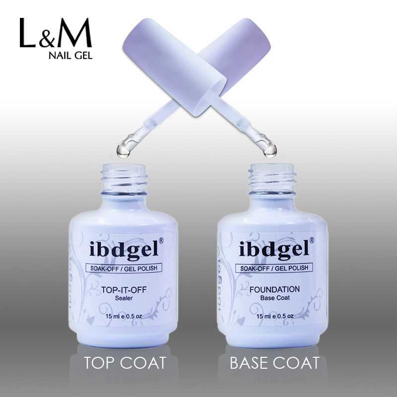 Set de 2 piezas de esmalte de uñas ibdgel (1 base y 1 capa superior de toallita) Soak Off Nail Gel Esmalte de larga duración UV LED Polish Top Base Base