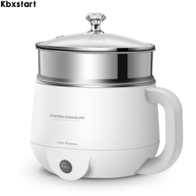 Kbxstart 220V Mini Multifunctional Electric Cooking Pot Skillet Non-stick Hot Machine with Steamer Food Cooker