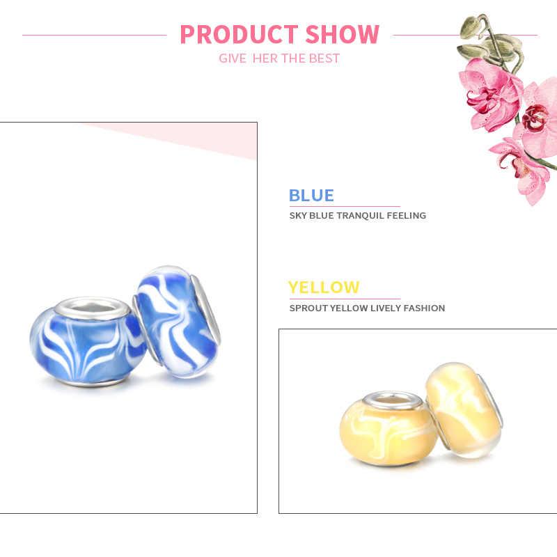 MISSITA Velcro patrón púrpura azul onda Murano cuentas de cristal ajuste Pandora pulseras para fabricación de joyería DIY accesorios de joyería