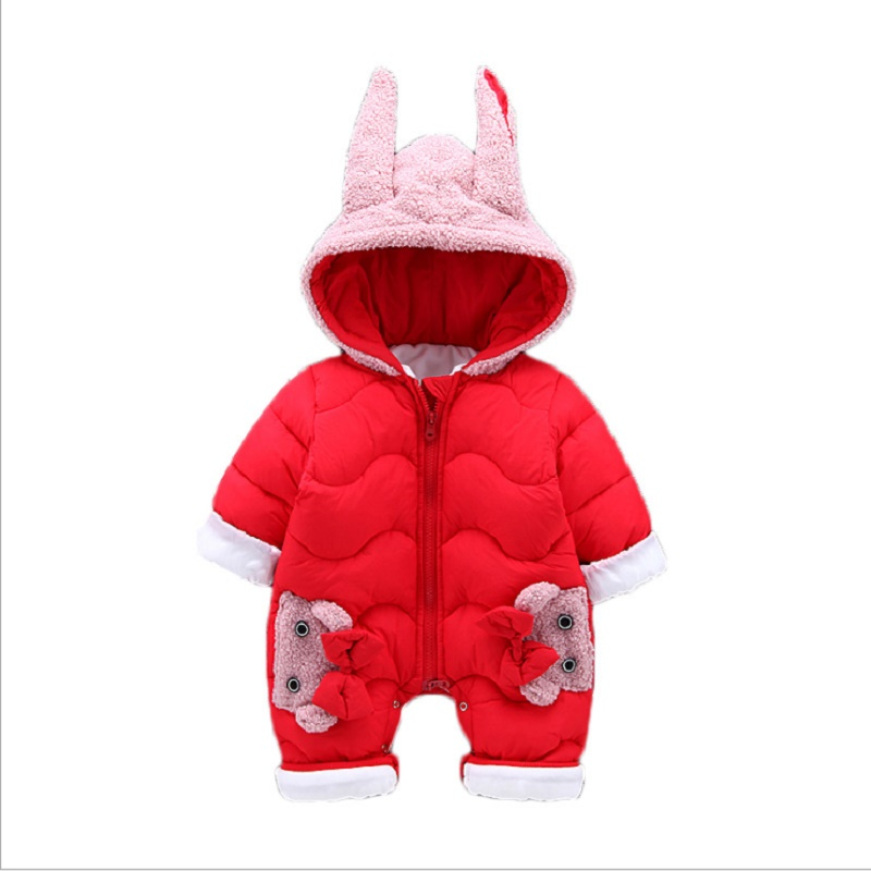 Winter Baby Jumpsuit Newborn Boy Girl Rompers Outwear Clothes Long Sleeve Romper Thick Warm toddler Hooded Snowsuit baby rompers autumn long sleeve newborn baby boy girl bear toddler jumpsuit romper baby clothes hooded 2018 cute clothing 2yrs