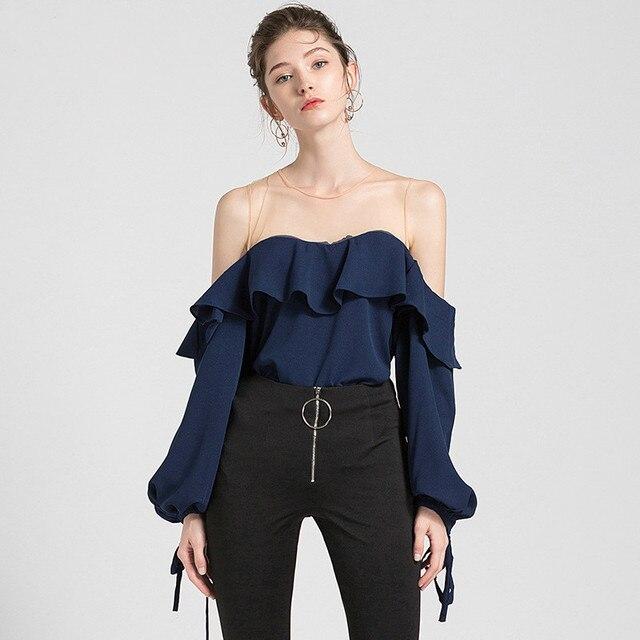 37458d984eb #2728 Spring Autumn Strapless Sexy Chiffon Shirt Women Lantern Sleeve Bow  Korean Split Joint Off