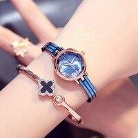 KIMIO синий браслет часы Для женщин кварцевые наручные часы платье водонепроницаемый из нержавеющей стали женские Золотой часы для дам zegarki ...