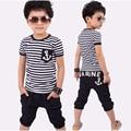 Baby&Kids Summer Sailor Children Clothing Sets Stripe Short Sleeve T-shirt Tops Pants Outfit Kids Boys Clothing Suit