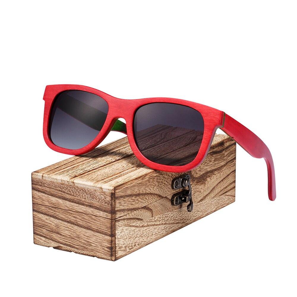 BARCUR Kaykay Ahşap Güneş Gözlüğü Gözlük Erkekler için - Elbise aksesuarları - Fotoğraf 2